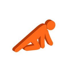 Man crawling on knees symbol flat isometric icon vector