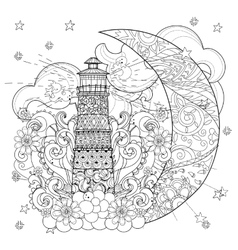 Cute lighthouse on christmas half moon vector image