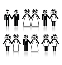 Gay and lesbian wedding - groom and bride icons se vector image vector image