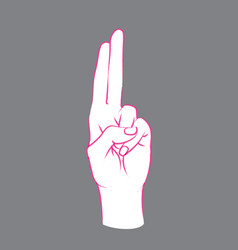 gesture female hand with index and middle finger vector image