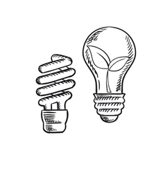 Sketch of save energy and old light bulb vector image vector image