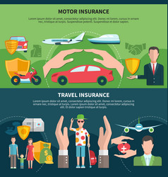 travel and transport insurance banners vector image