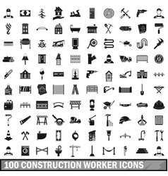 100 construction worker icons set simple style vector image