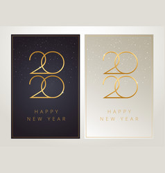 2020 happy new year greeting cards - black vector image