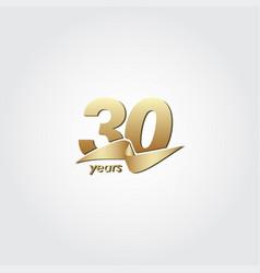 30 years anniversary celebration gold ribbon vector