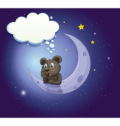 A bear with an empty callout leaning over moon vector