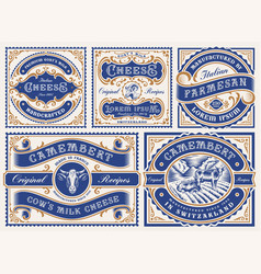 a set vintage editable cheese labels vector image