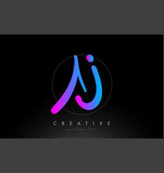 Aj artistic brush letter logo handwritten in vector