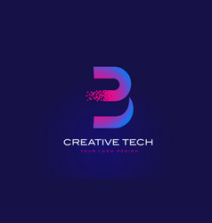 B initial letter logo design with digital pixels vector