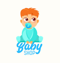 baby shop banner child sucking pacifier infant vector image