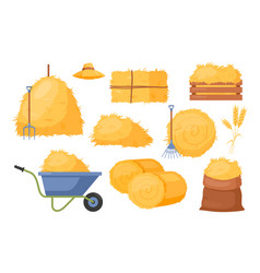 Bale hay icons with straw vector