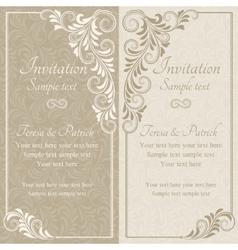 Baroque invitation beige vector
