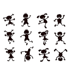 Black cartoon kids silhouette vector