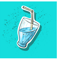 blue summer cocktail sticker fashion patch badge vector image