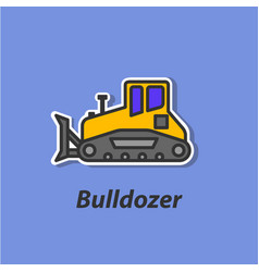 Bulldozer color flat icon vector