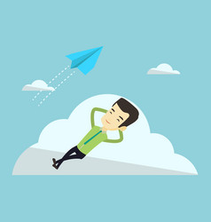 business man lying on cloud vector image