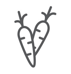 carrot line icon food and vegetable vector image