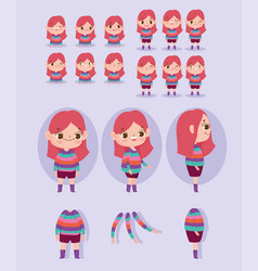 Cartoon character animation girl dressed in vector