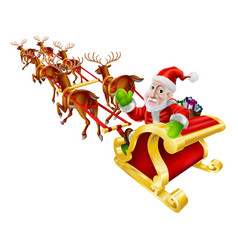 cartoon christmas santa claus sled vector image