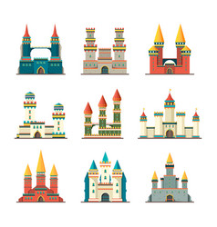 Castles medieval fairytale dome palace with big vector