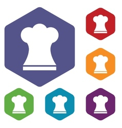Chef hat rhombus icons vector image