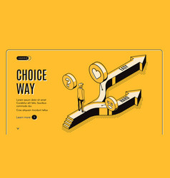Choice way isometric landing page on road fork vector