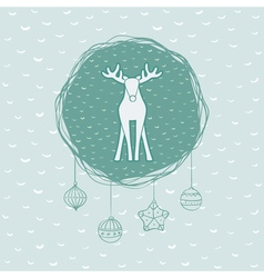 Christmas and new year round frame with deer vector