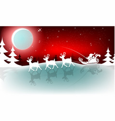 Christmas red design with santa claus on reindeer vector