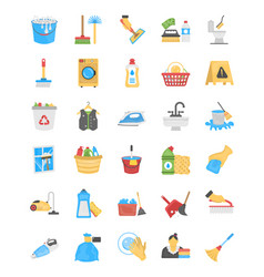 cleaning and maid flat icons vector image