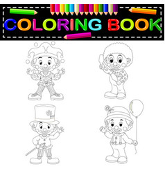 clown coloring book vector image