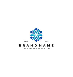 Colorful people group team logo design vector