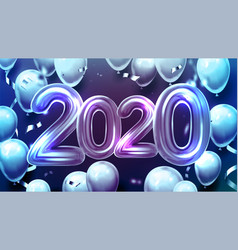 Creative 2020 balloons and confetti banner vector