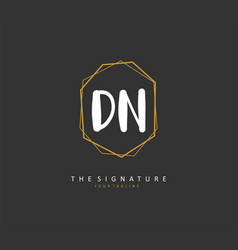 D n dn initial letter handwriting and signature vector