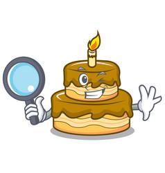 Detective birthday cake character cartoon vector