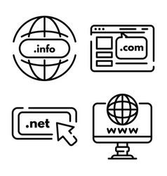 Domain icons set outline style vector