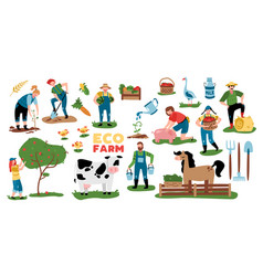 domestic farm elements collection vector image