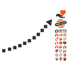 dotted growth trend icon with valentine bonus vector image