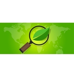 ecology eco friendly world map green leaf symbol vector image vector image
