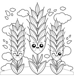 field with wheat characters vector image