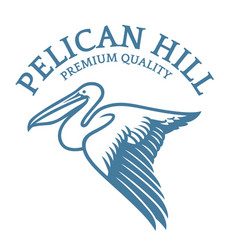 Flying pelican logo in elegant style vector