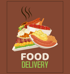 food delivery service poster banner vector image