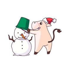 funny cow making snowman isolated on white vector image