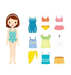Girl In Swimming Suit And Clothes Set For Summer vector image