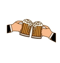 glasses of beers in the hand icon design vector image