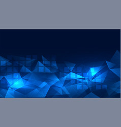 Glowing blue digital low poly background design vector