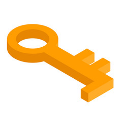 gold old key icon isometric style vector image