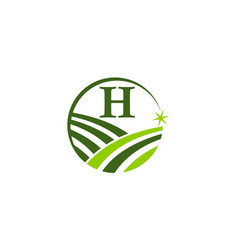 green project solution center initial h vector image