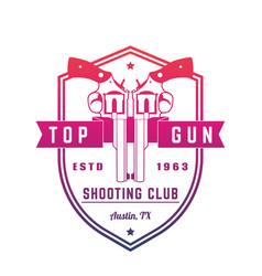 gun club vintage logo emblem with revolvers vector image