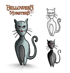 Halloween monsters scary cartoon black cat EPS10 vector