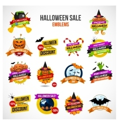 Halloween Sale Emblem and Label Set vector image